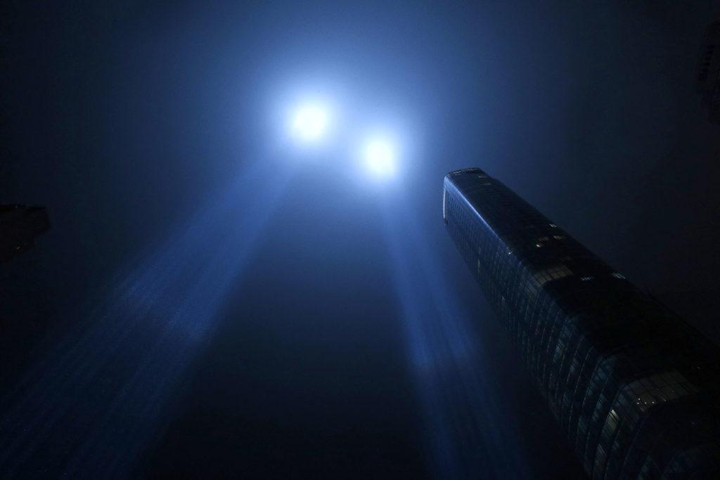 Tribute in Light Tested in New York City 11 de septiembre