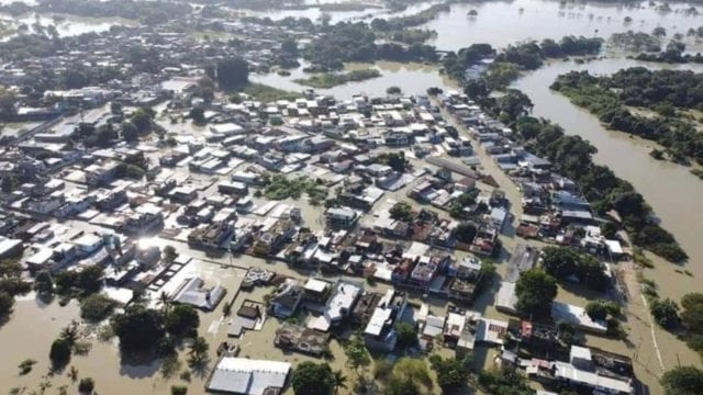 TABASCO Aerial view shows a neighborhood flooded in the aftermath of Tropical Storm Eta and cold fronts, in Macuspana
