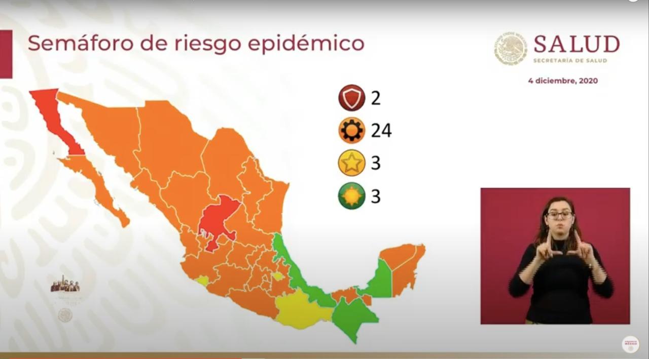 La mayor parte del país está en naranja; Veracruz se va a verde en el semáforo Covid-19