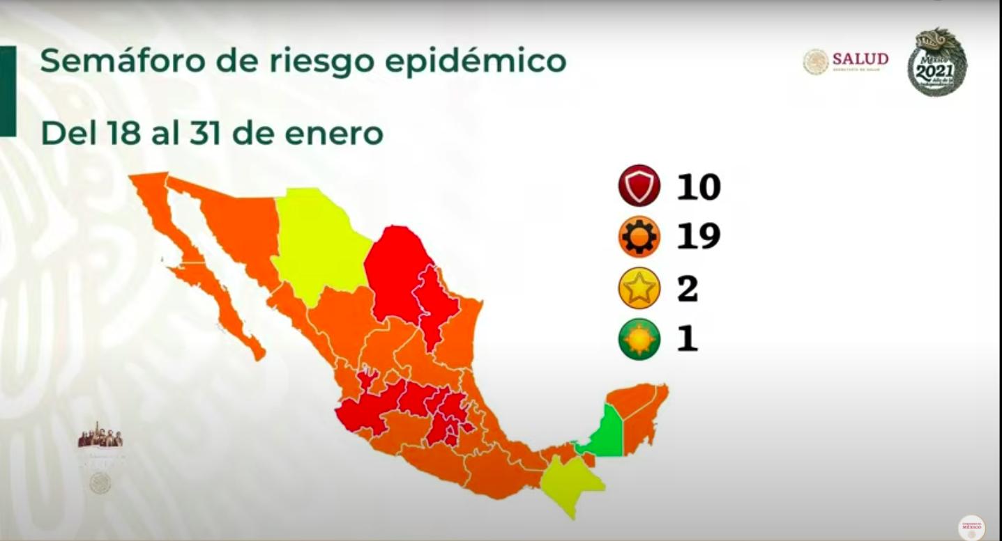 Semáforo Covid-19: 10 estados, en rojo; sólo Campeche está en verde