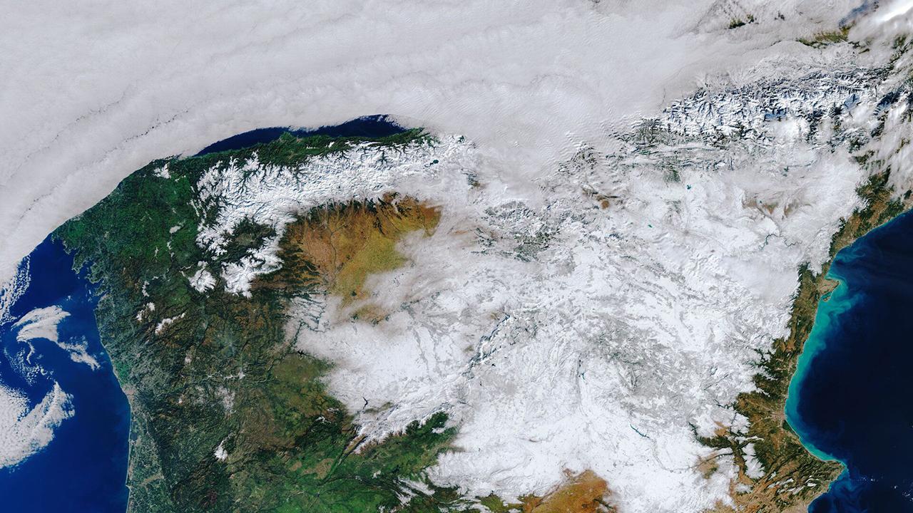 Así se ve España, tras las fuertes nevadas, desde el espacio