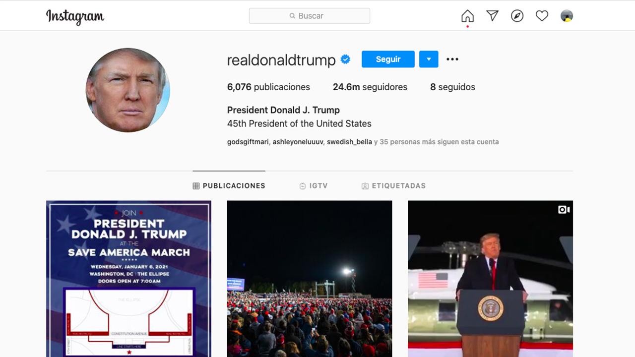 Cuentas de Facebook e Instagram de Trump siempre han sido visibles; él no puede postear