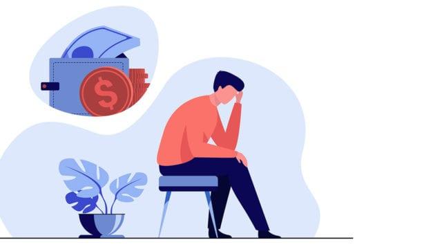 Hombre triste deprimido pensando en problemas financieros (P-W febrero pag. 13 )