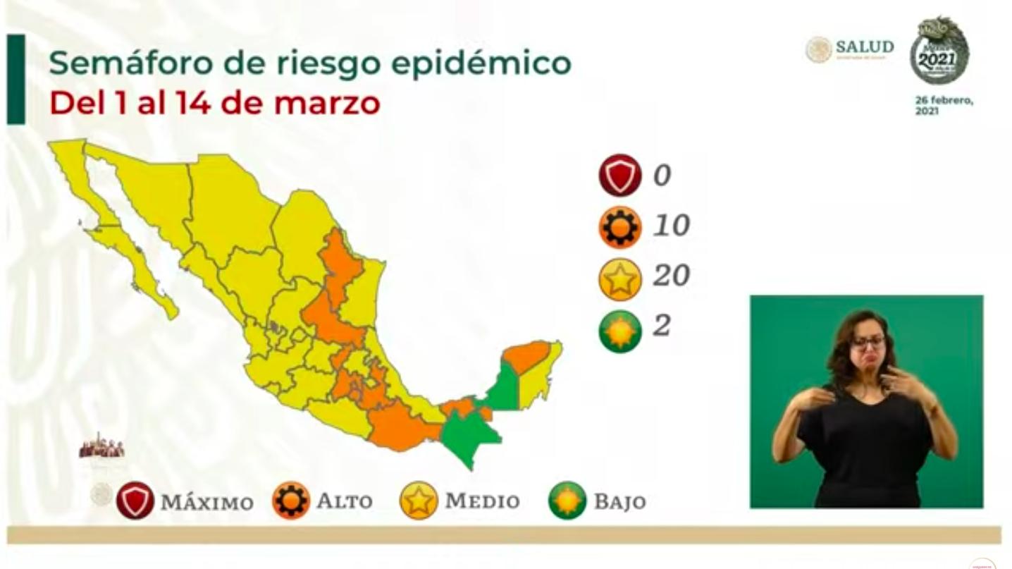 Semáforo Covid-19: Chiapas y Campeche en verde; ninguno en rojo