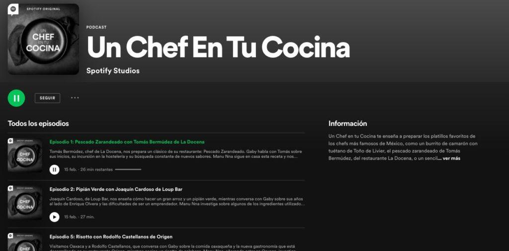 Spotify podcast Un chef en la cocina
