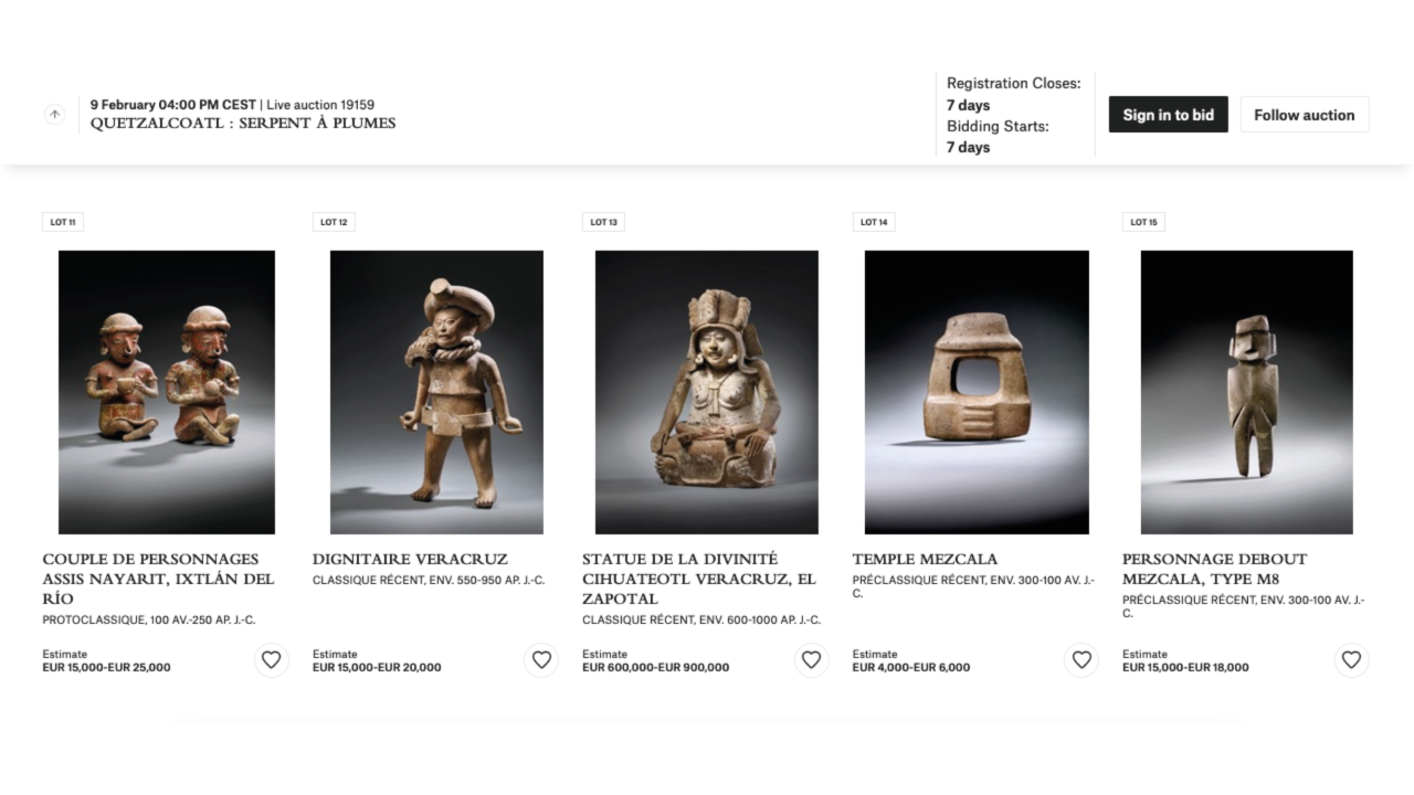 INAH pide a Christie's cancelar subasta de piezas prehispánicas en París