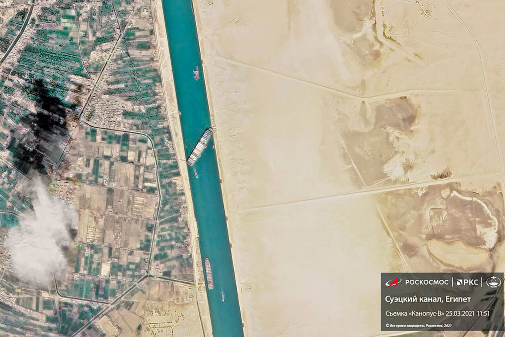 Grounded cointainer ship blocks Suez Canal in Egypt
