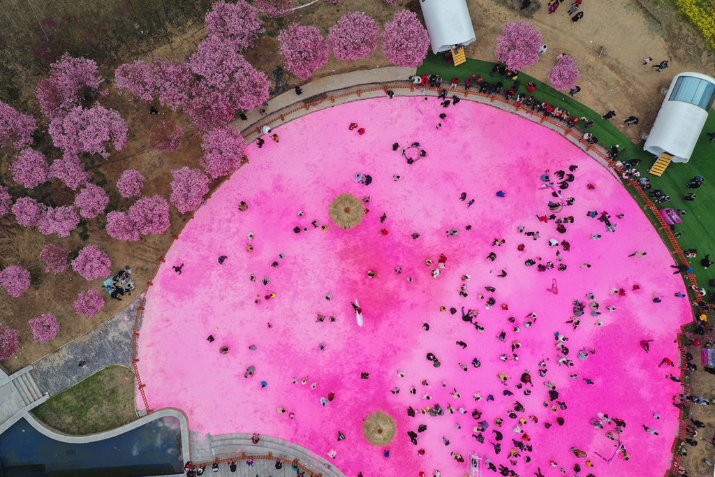 China Covid-19 Pink Sand Beach In Zhengzhou