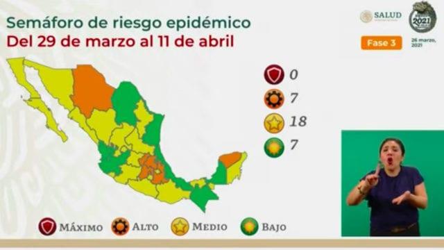 Semáforo Covid-19: siete estados en verde; 18 en amarillo y 7 en naranja