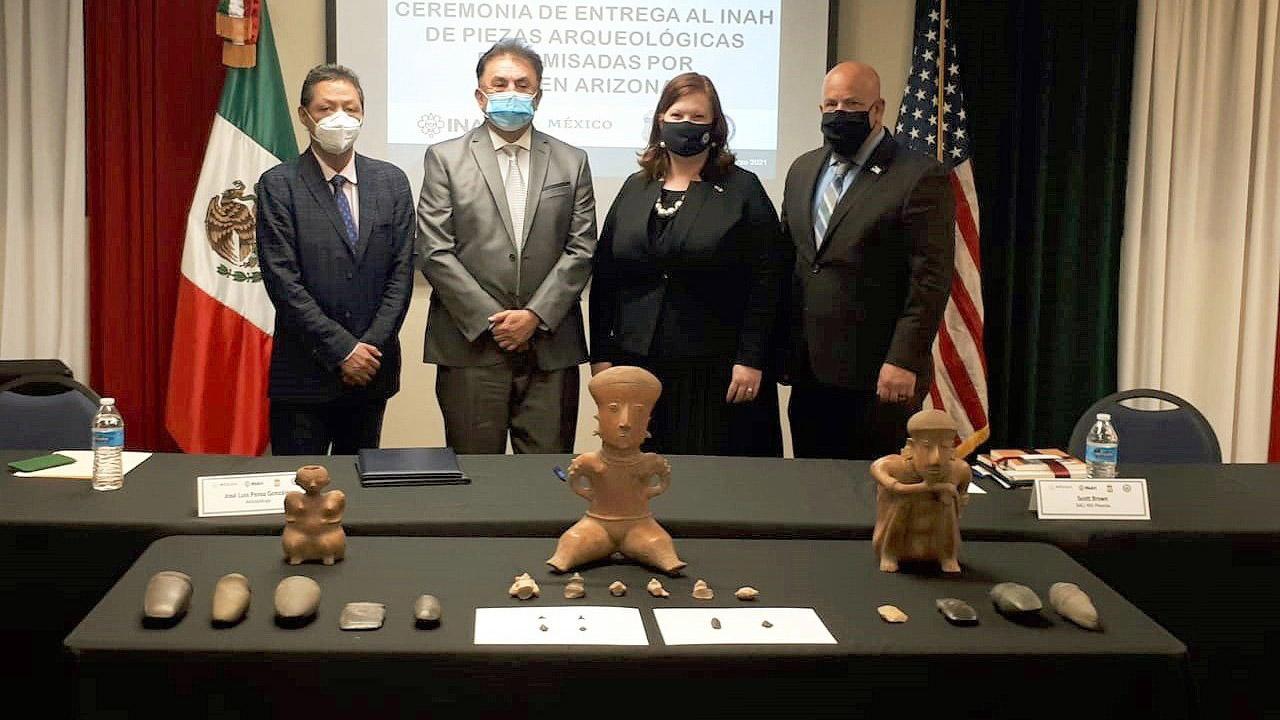 México repatria 280 de piezas arqueológicas desde Estados Unidos