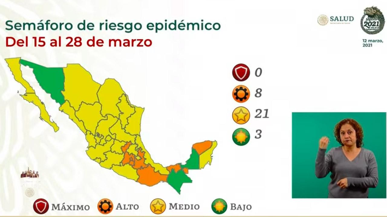 Semáforo Covid-19: Sonora se suma a estados en verde; hay 21 en amarillo y 8, en naranja