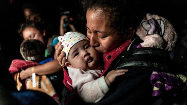 Niños Migrantes Migrants cross the Rio Grande river in Roma, TX