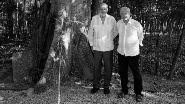 AMLO y Slim evalúan avances de Tren Maya mientras desayunan en Palenque