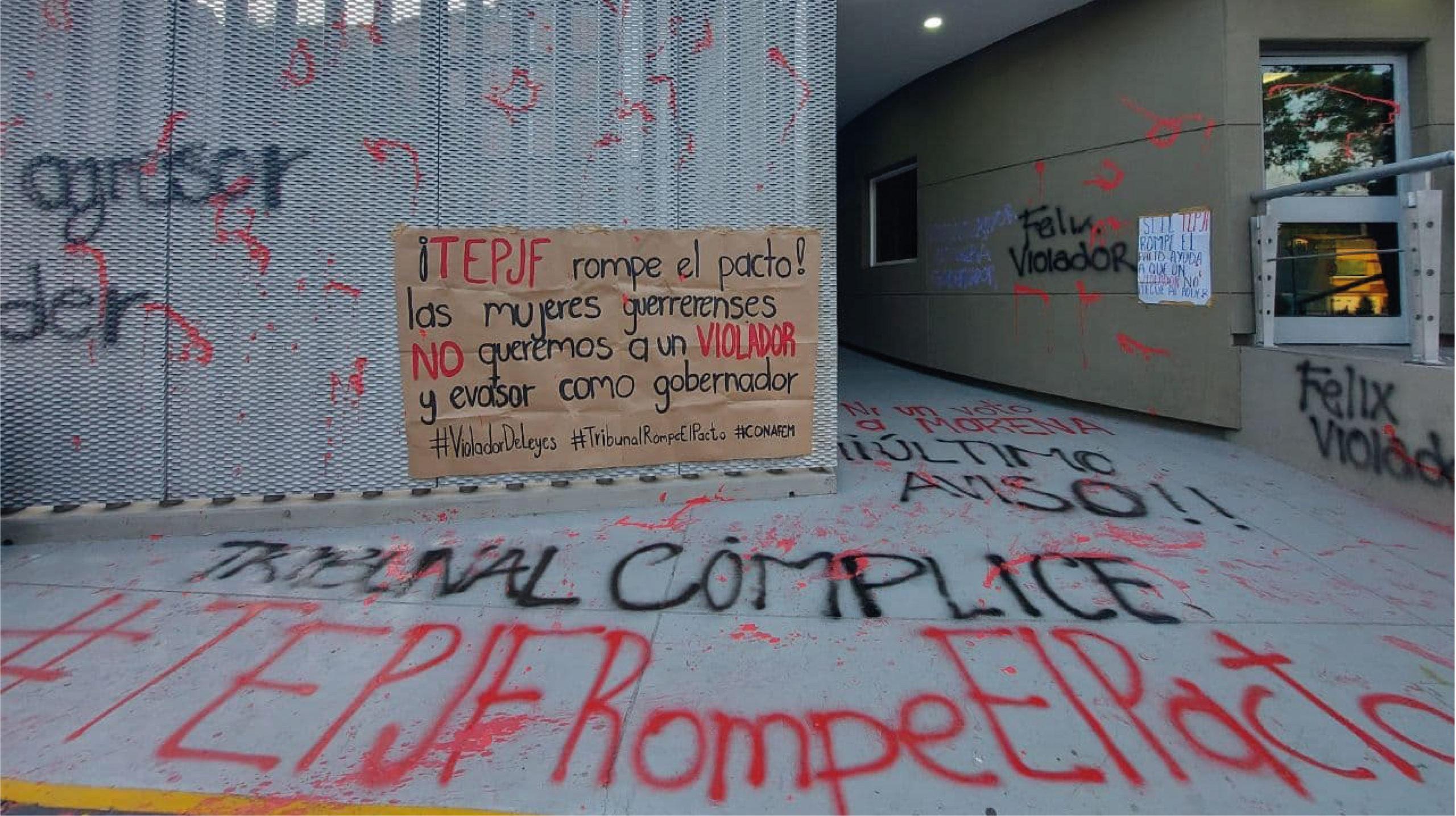 Colectivos feministas protestan contra Salgado Macedonio en el TEPJF