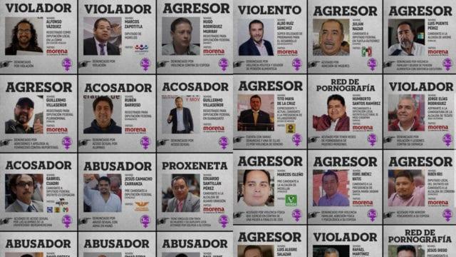Feministas exhiben a 36 candidatos por acoso y violación
