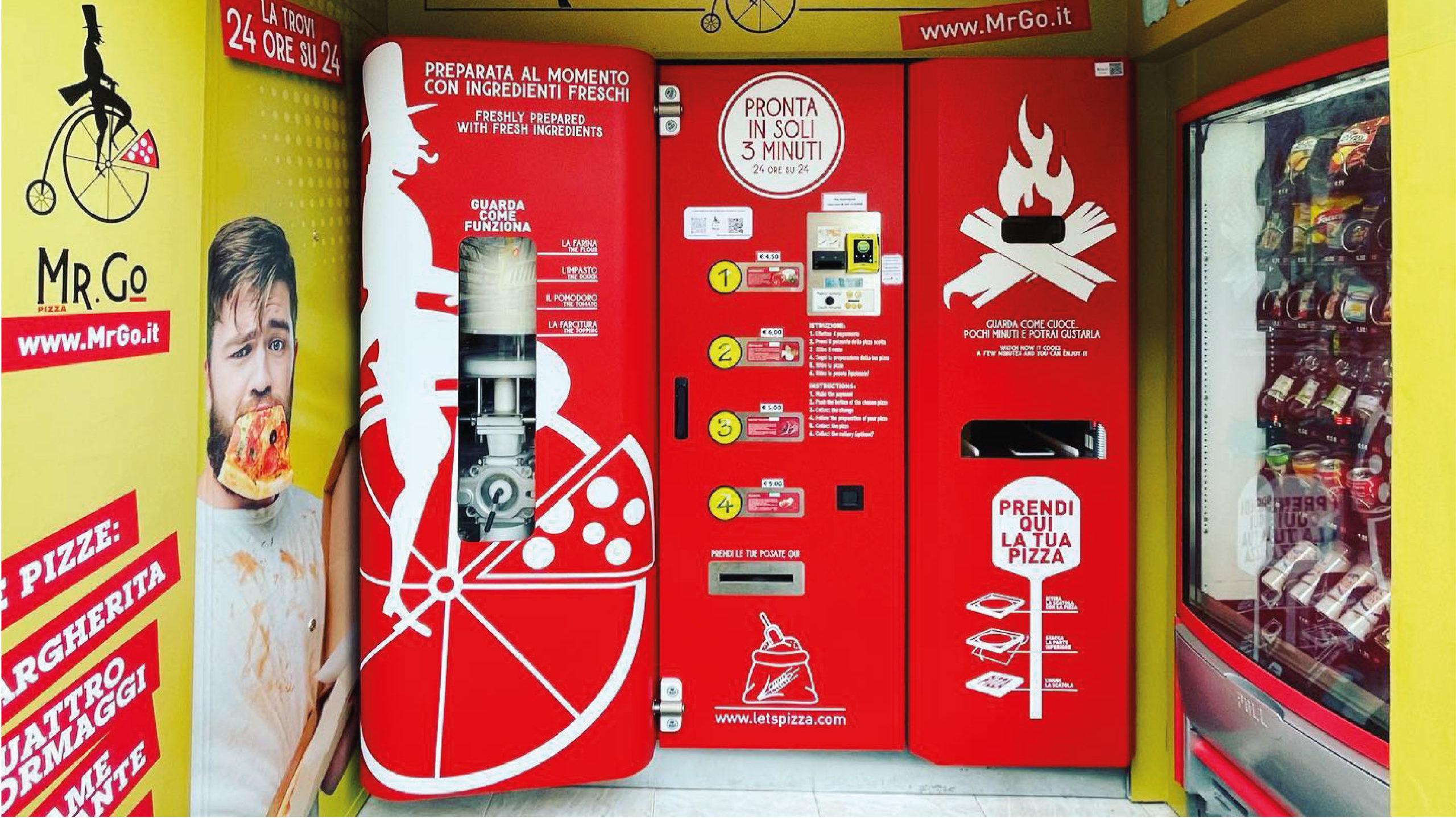 Máquina expendedora prepara pizzas en 3 minutos
