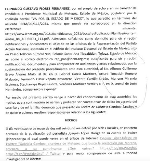 Denuncia ante la Fiscalía General de Justicia del Estado de México