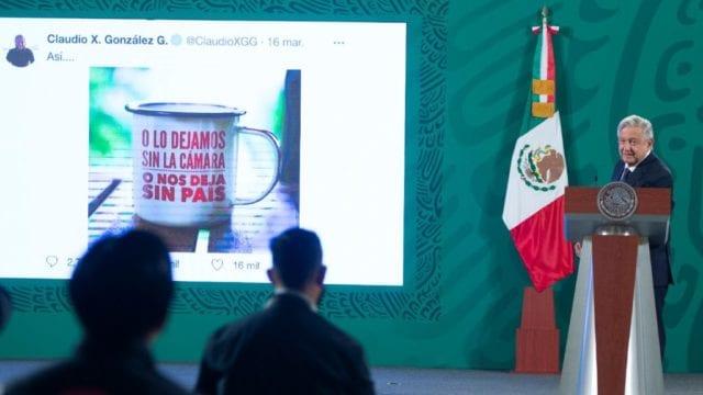 El presidente López Obrador en conferencia de prensa. Foto: Presidencia
