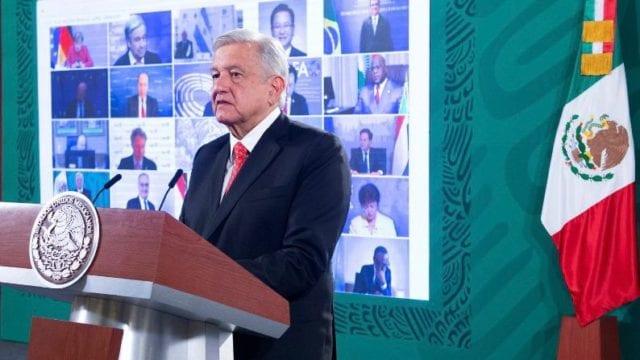 El presidente López Obrador en videoconferencia con el G-20. Foto:: Presidencia