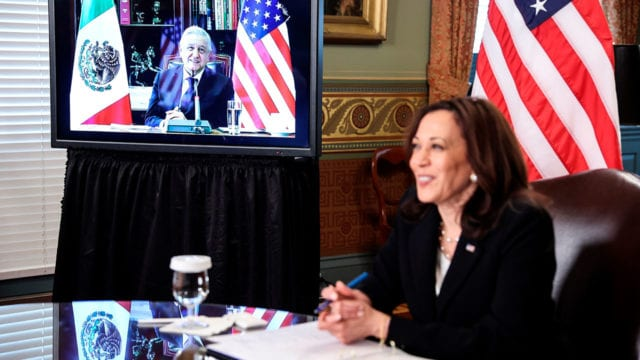 Andres Manuel López Obrador US Vice President Kamala Harris holds a virtual bilateral meeting with Mexican President