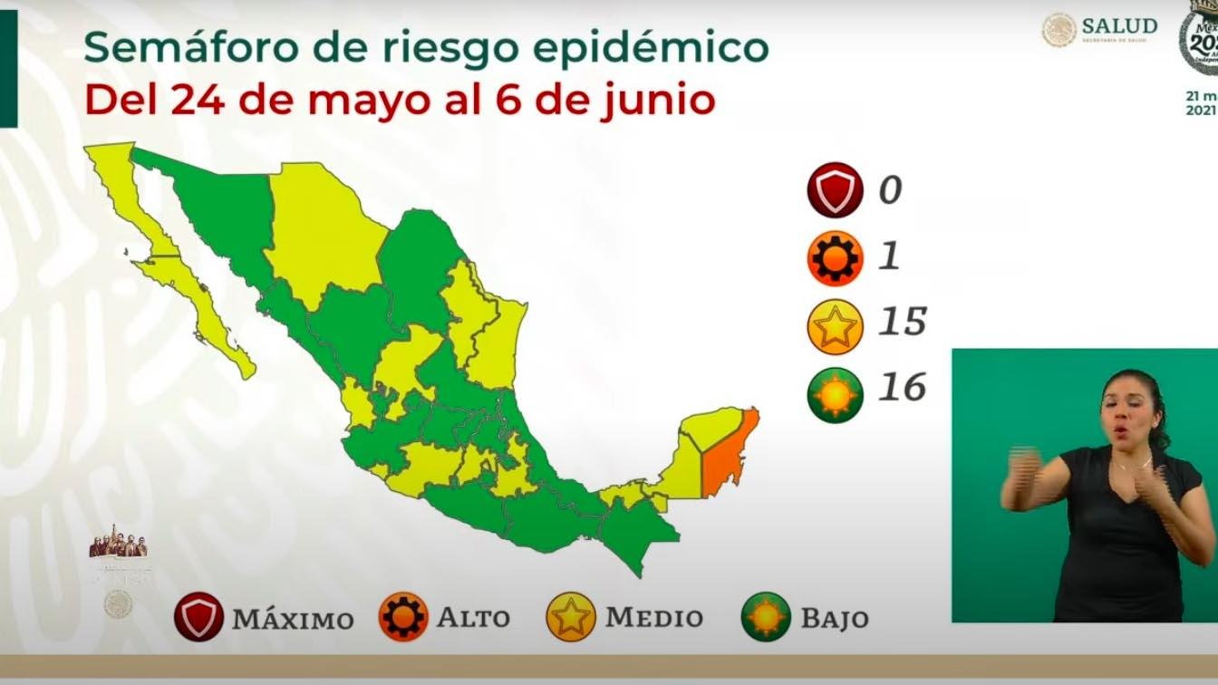 Semáforo covid: 16 estados en verde; 15, en amarillo y 1, en naranja