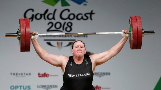 Laurel Hubbard of New Zealand competes at Gold Coast 2018 Commonwealth Games