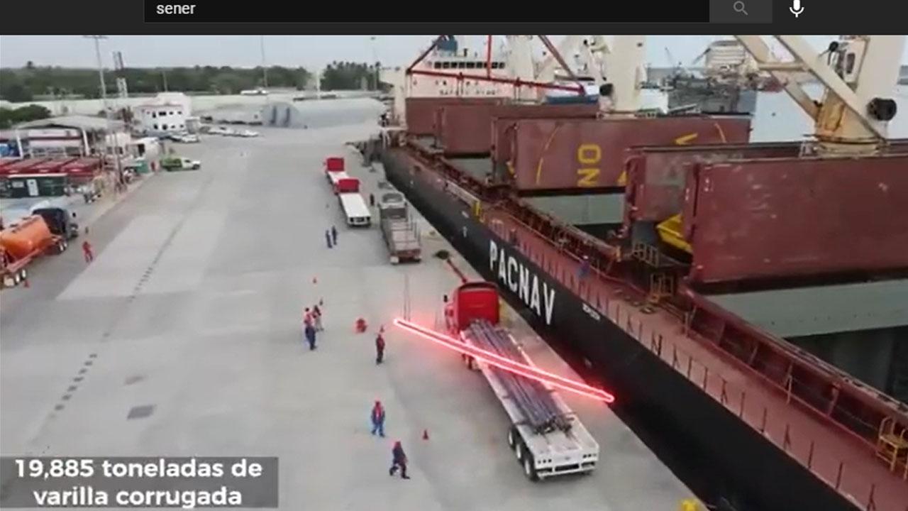 Sener descarga casi 20,000 toneladas de acero para refinería de Dos Bocas