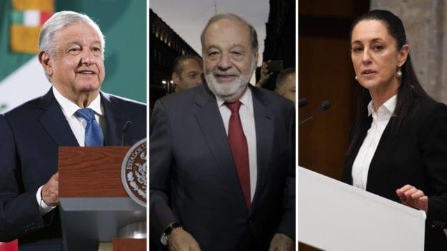 AMLO se reúne con Carlos Slim y Claudia Sheinbaum