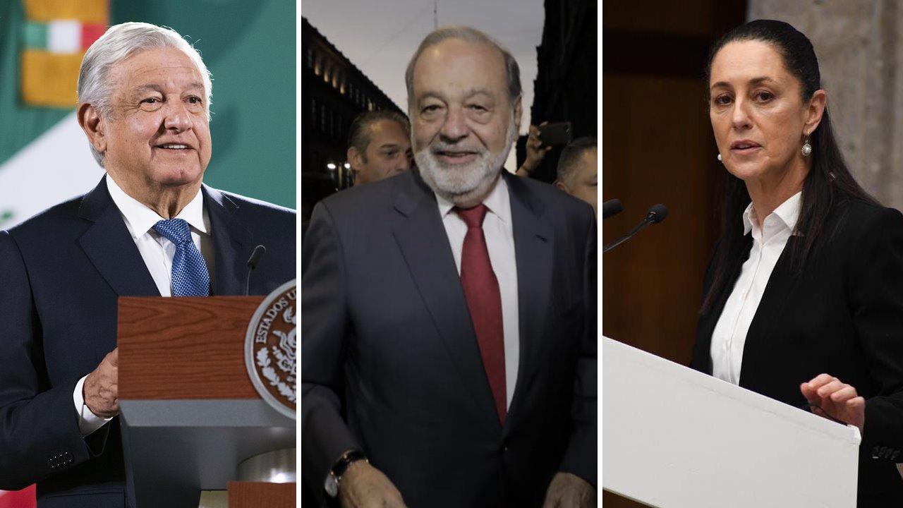 AMLO recibe a Claudia Sheinbaum y Carlos Slim en Palacio Nacional