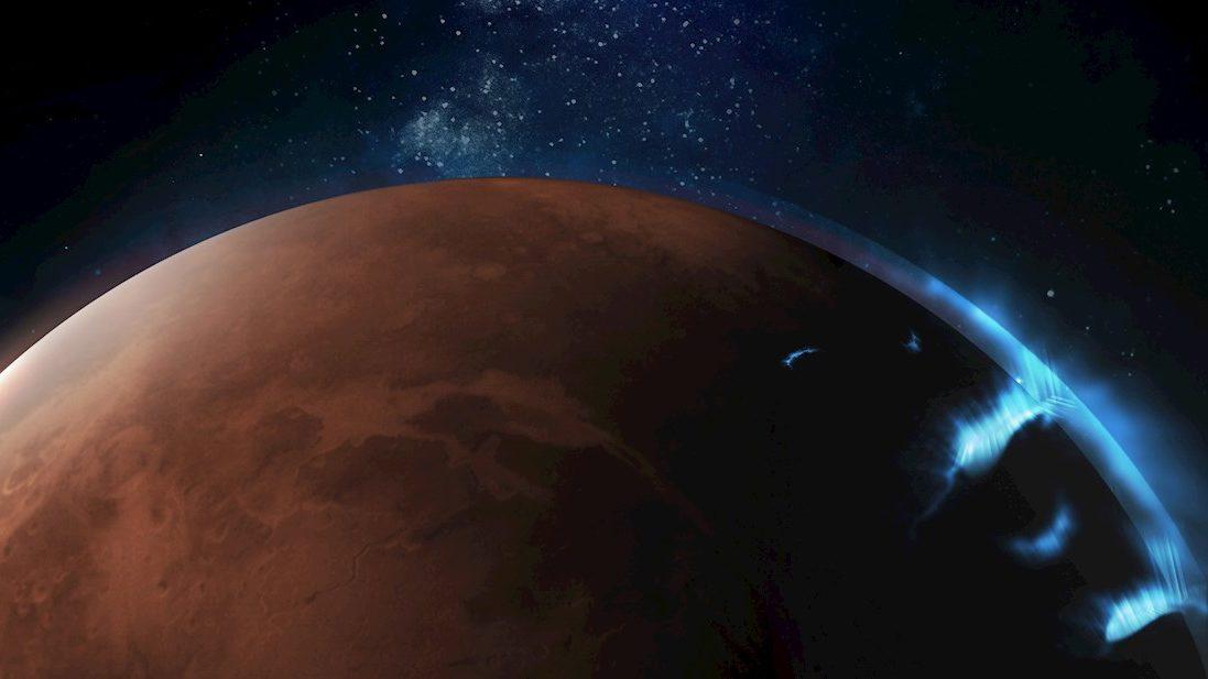 Publican las primeras fotografías de una aurora en Marte
