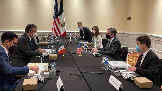 El canciller Marcelo Ebrard, y el secretario de Estado de Estados Unidos, Antony Blinken