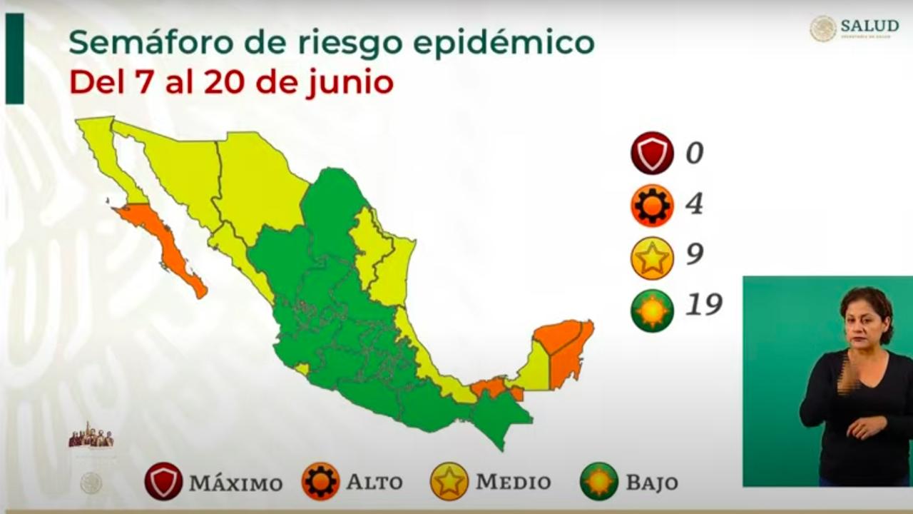Semáforo covid: 19 estados en verde; 9, en amarillo y 4, en naranja