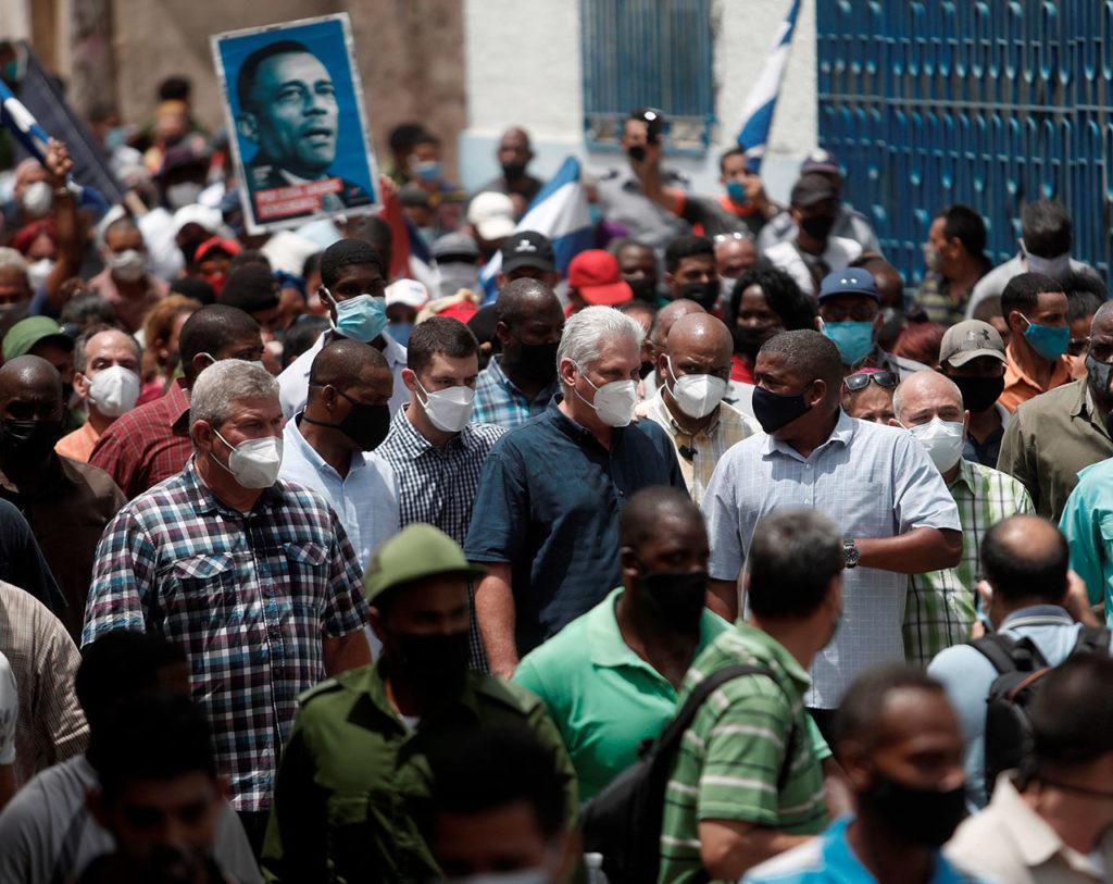 Cuba protestas Presidente cubano convoca a sus partidarios a combatir protestas callejeras