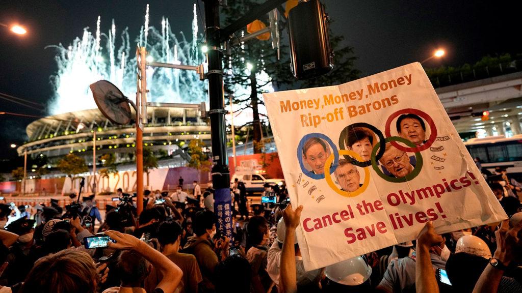 Protesta inauguracion olimpiadas Tokio1