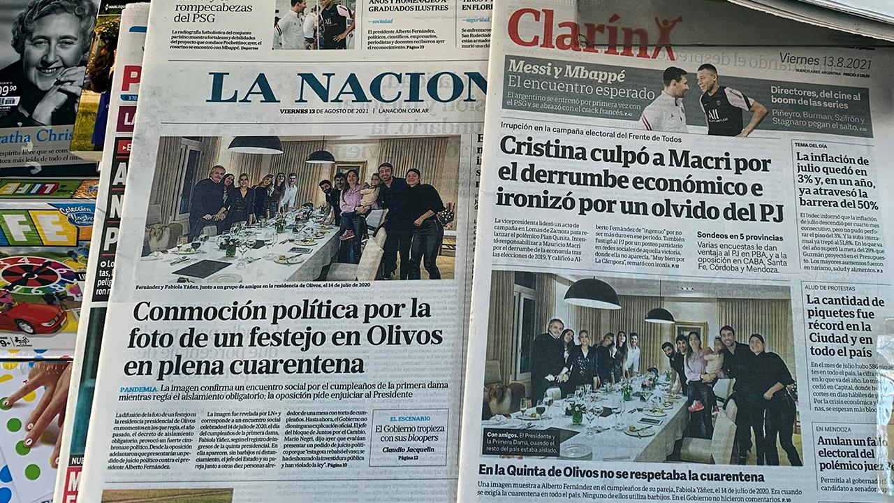 Presidente de Argentina lamenta reunión social durante confinamiento