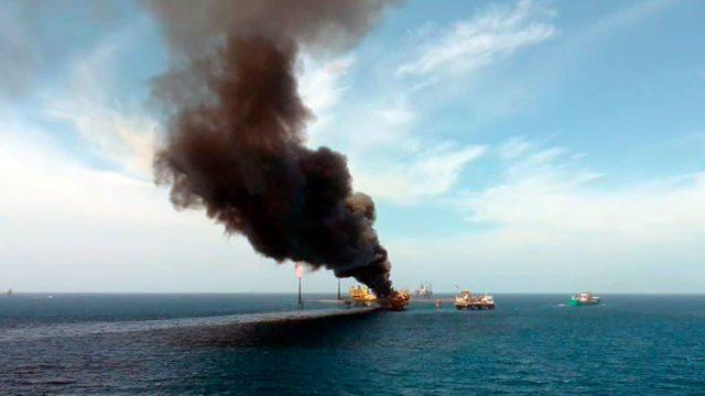 Cinco lesionados deja incendio en plataforma petrolera en el Golfo de México
