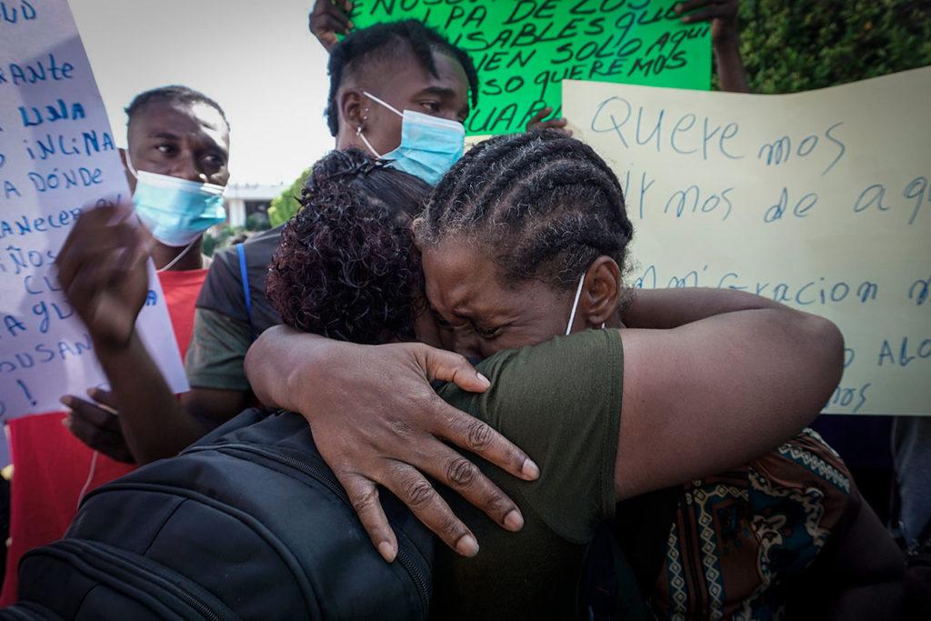 Migrantes acumulan tres días de protestas en la frontera sur de México