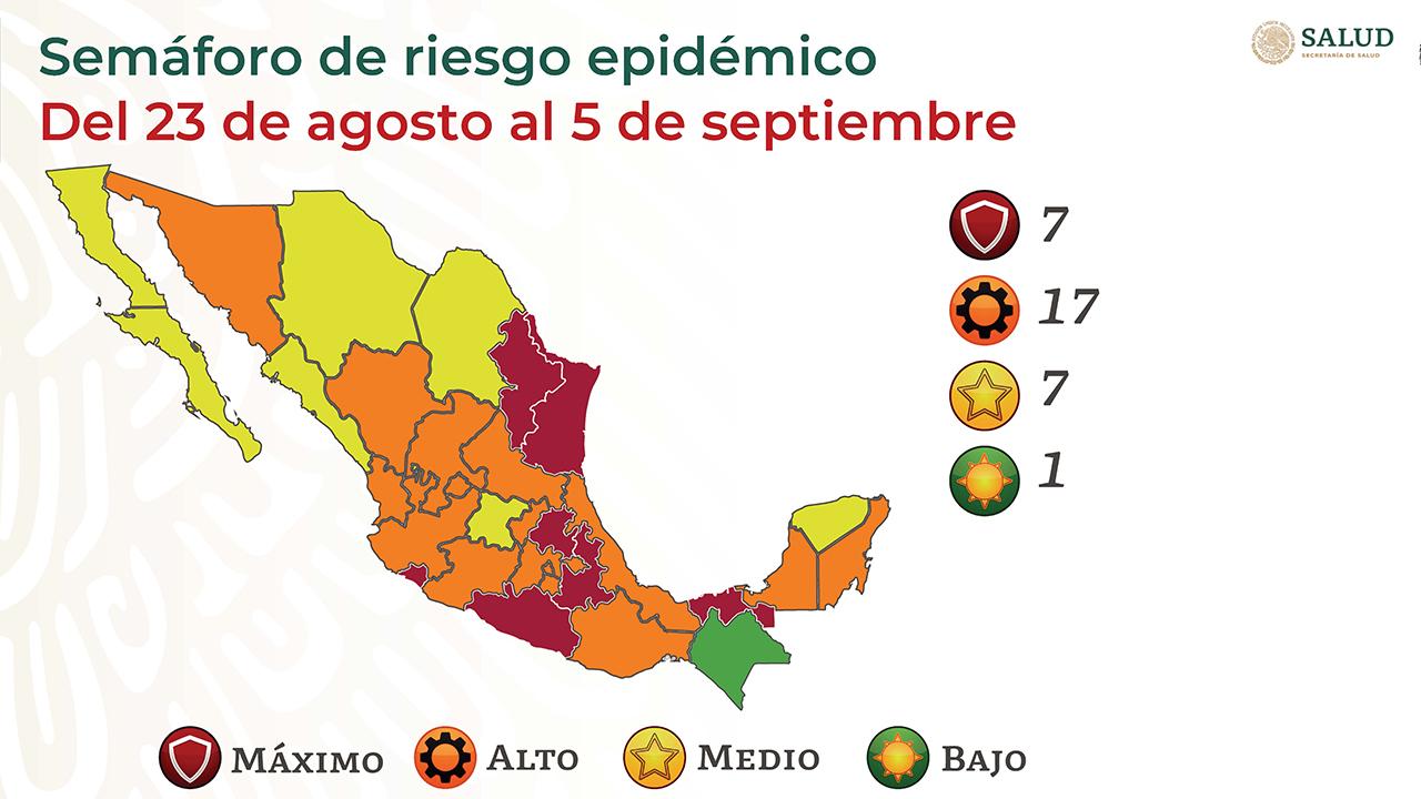 Semáforo covid: Solo 1 estado en verde; 7, en rojo; 17, en naranja; y 7, en amarillo