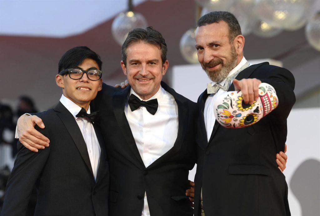 Hatzin Navarrete, Lorenzo Vigas y Hernán Mendoza en el 78 ° Festival Internacional de Cine de Venecia.