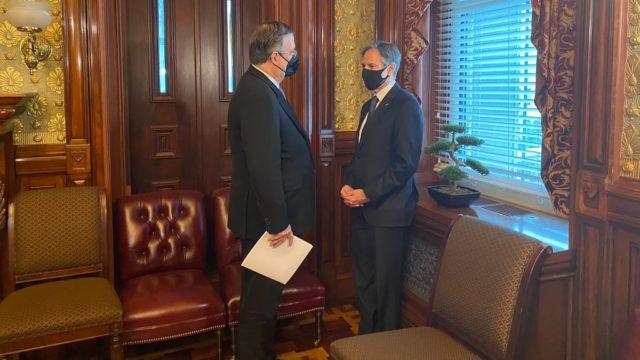 El secretario Ebrard y Antony Blinken. Foto: SRE