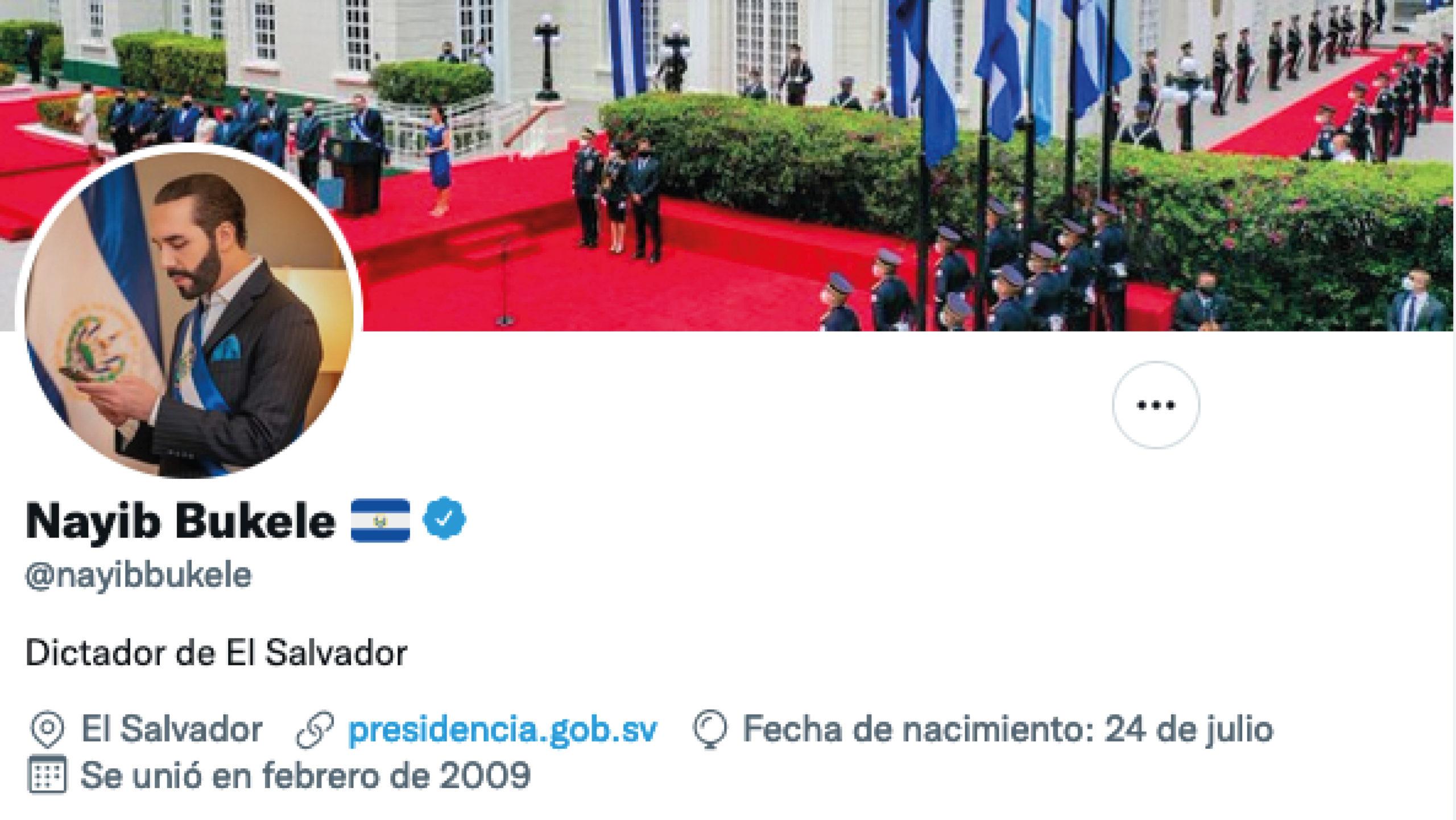 Nayib Bukele se describe en Twitter como 'dictador de El Salvador'