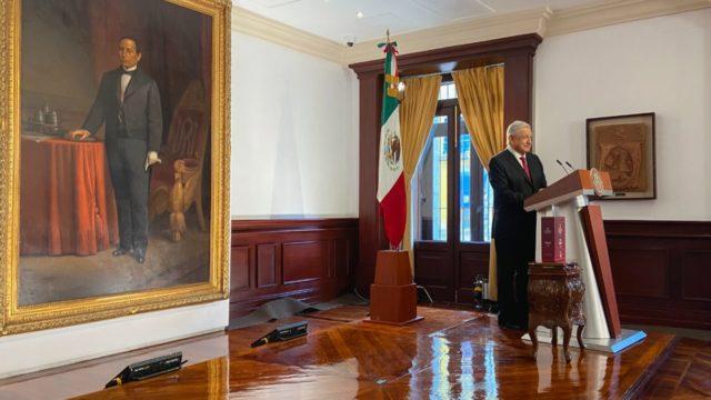 El presidente López Obrador en Palacio Nacional. Foto: Presidencia