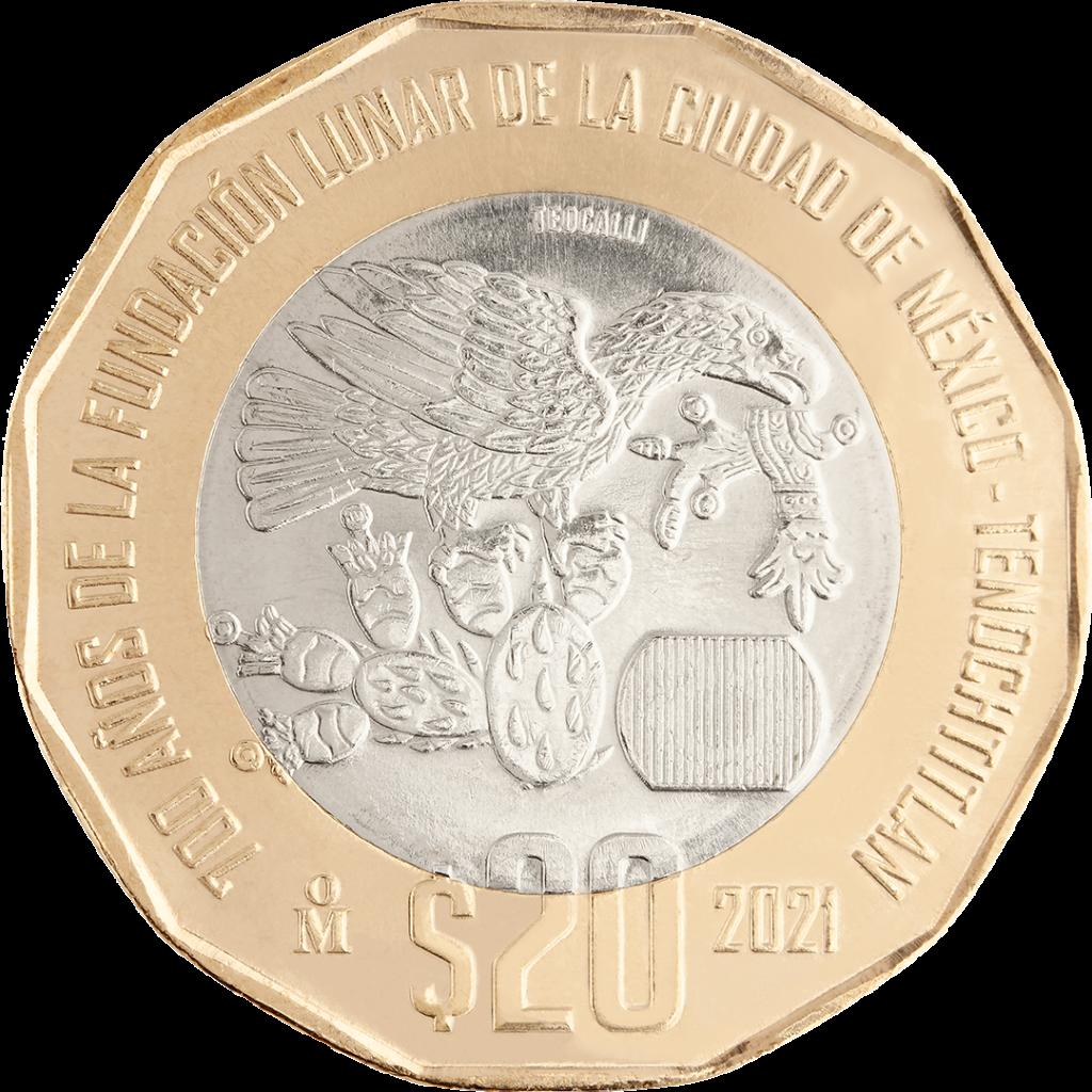 Conoce las monedas de 20 y 10 pesos para conmemorar la Independencia, fundación y resistencia de Tenochtitlan