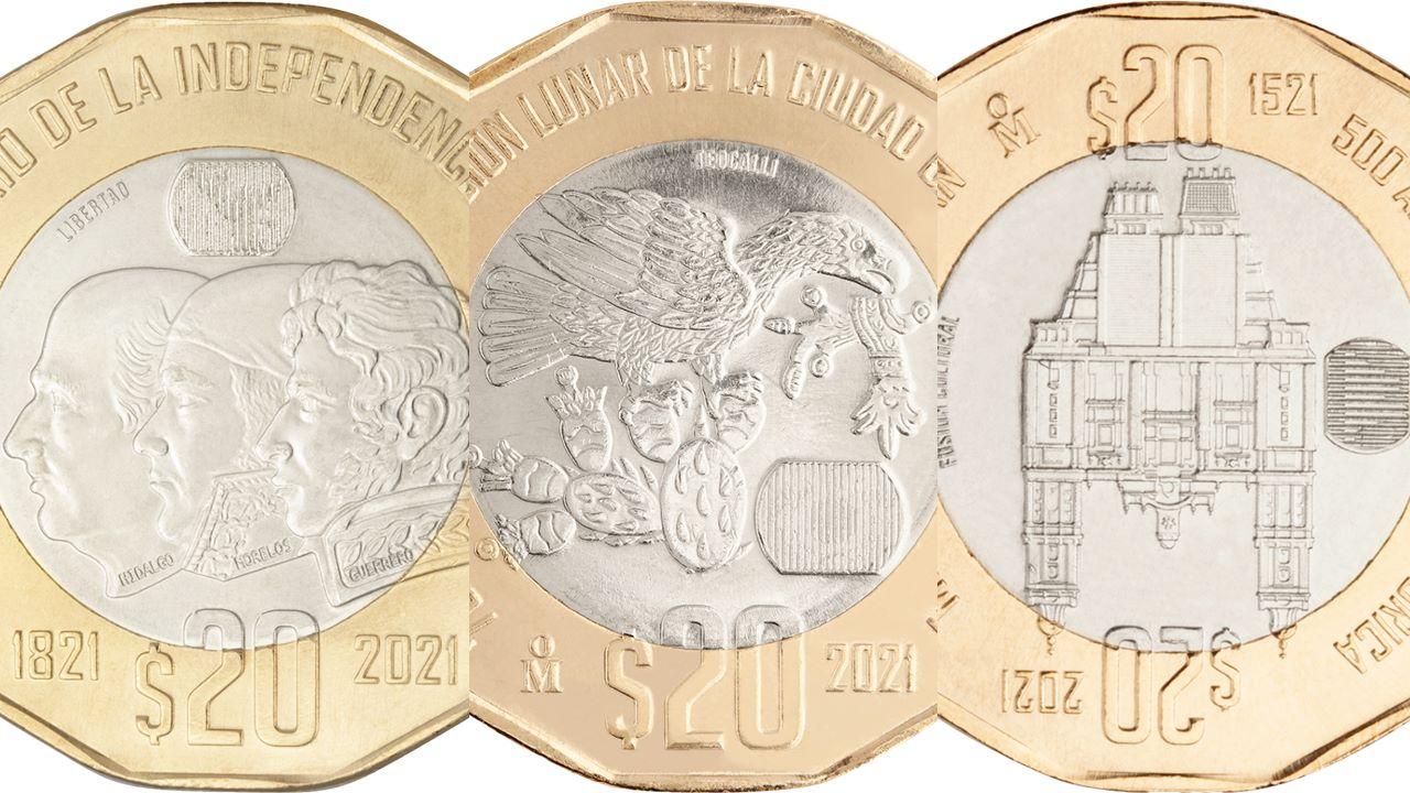 Estas son las monedas para conmemorar la Independencia, fundación y resistencia de Tenochtitlan