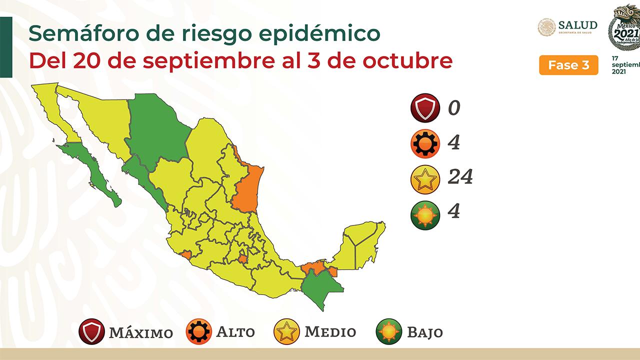 Semáforo covid: 24 estados en amarillo; 4, en naranja y 4, en verde