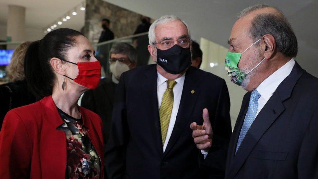 Sheinbaum y Carlos Slim se reencuentran en la UNAM