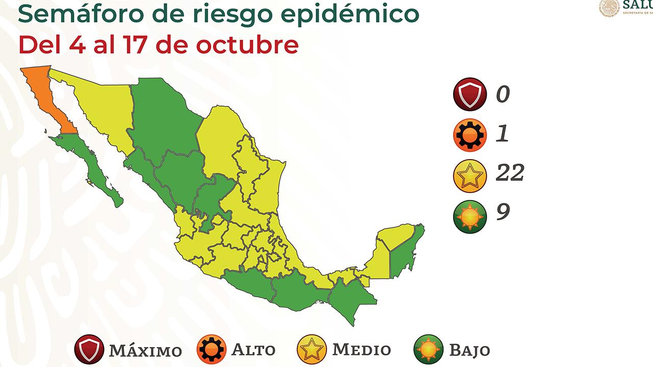 Semáforo covid: 22 estados en amarillo; 1, en naranja y 9, en verde