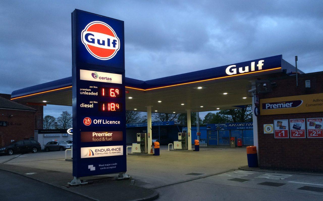 vista de una estación de servicio de Gulf